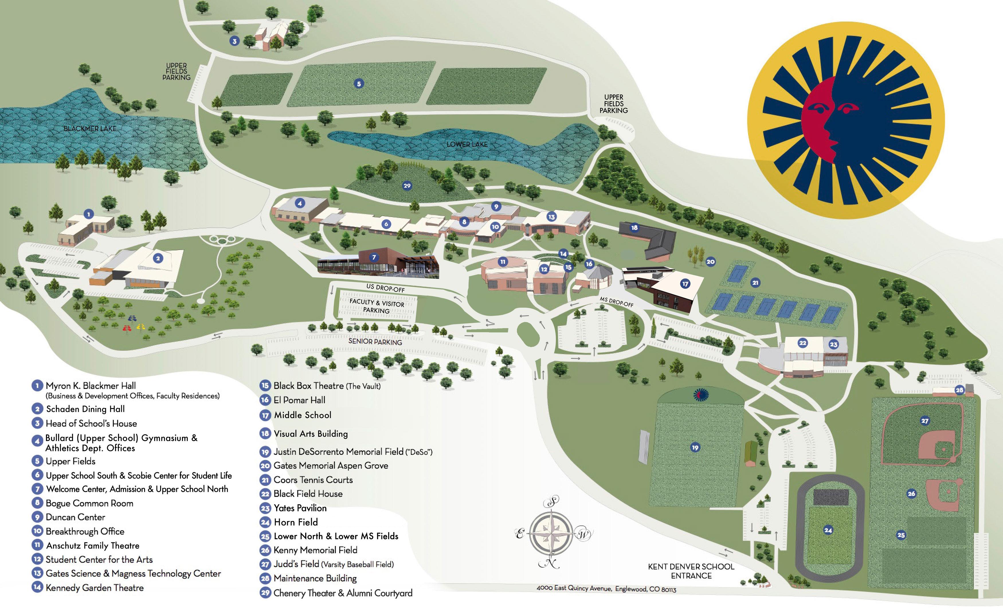 Campus Map Kent Denver School - Us baseball map